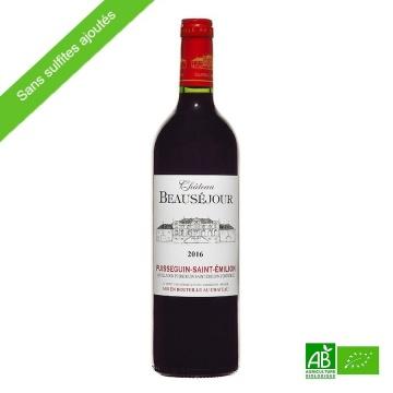 Vin rouge bio sans sulfites Saint-Emilion Puisseguin 2017 Château Beauséjour AOC 75cl