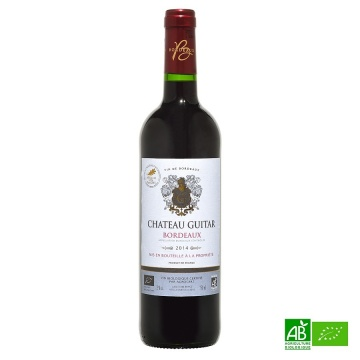 Vin rouge bio Bordeaux 2014 AOC Château Guitar 75cl