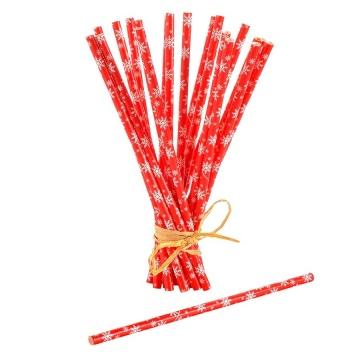 Pailles écologiques en papier rouge