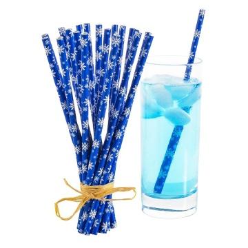 Pailles écologiques en papier bleu flocons